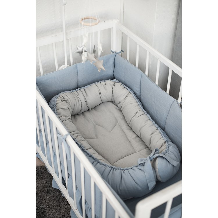 Linen baby nest grey-blue