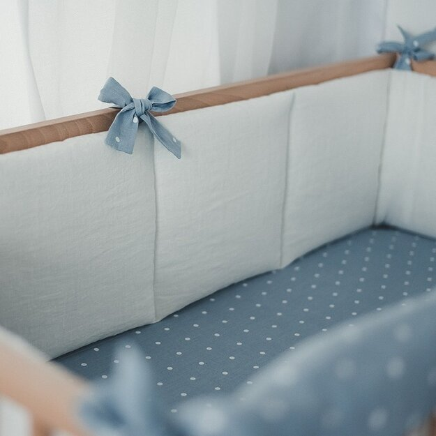 White and Blue Linen Baby Bumper
