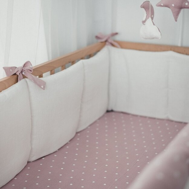White and Pink Linen Baby Bumper