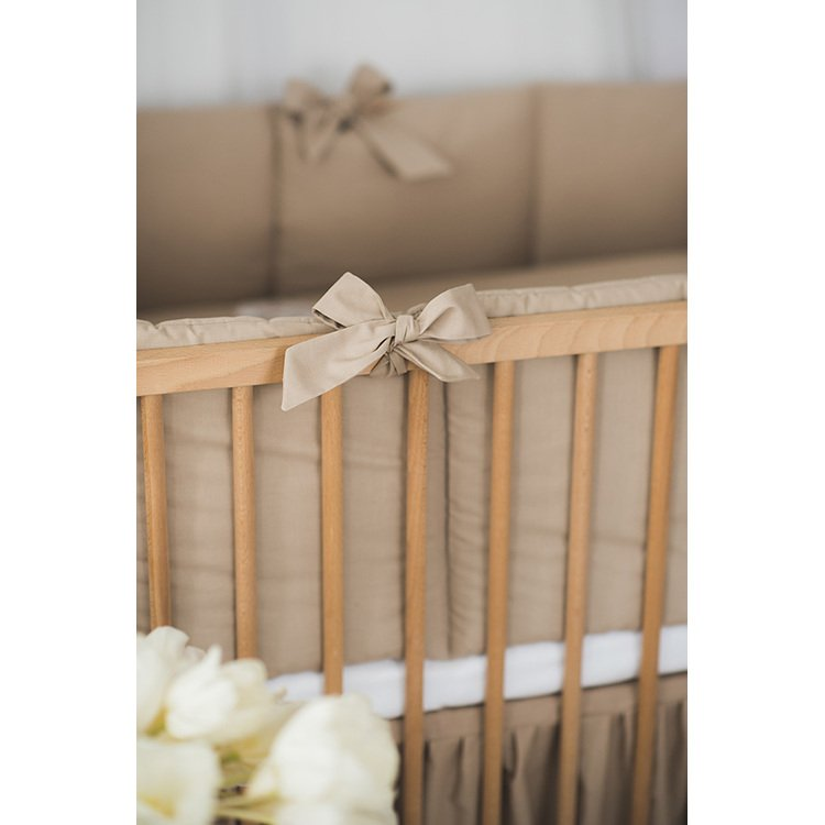 Cacao Cotton Baby Bumper With Bows