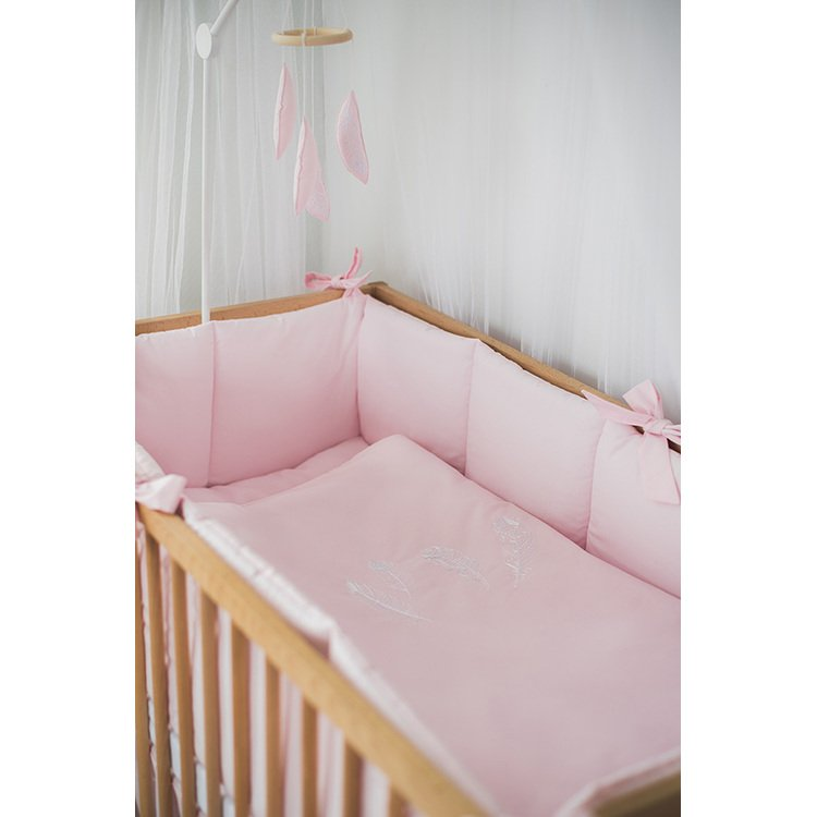 Pink Baby Cotton Crib Bumper With Bows