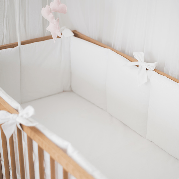 White Cotton Baby Bumper With Bows