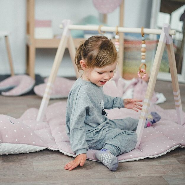 GYM, TOYS & MAT - Wooden Baby Play Gym, Linen Pink Play Mat, Silicon Toys