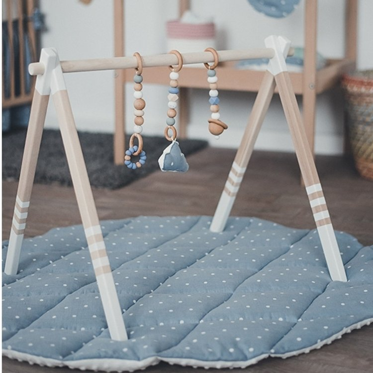 GYM, TOYS & MAT - Wooden Baby Play Gym, Linen Blue Play Mat, Silicon Toys