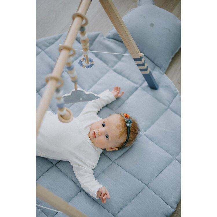 Wooden Baby Play Gym BLUE with Side Rope