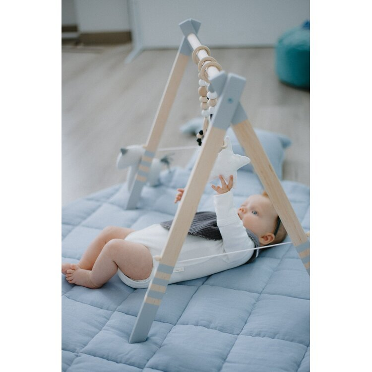 Wooden Baby Play Gym GREY with Side Rope