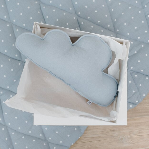 Blue linen (flax) cloud pillow