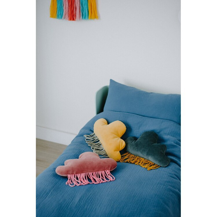 Mustard Velvet Rain Cloud Pillow