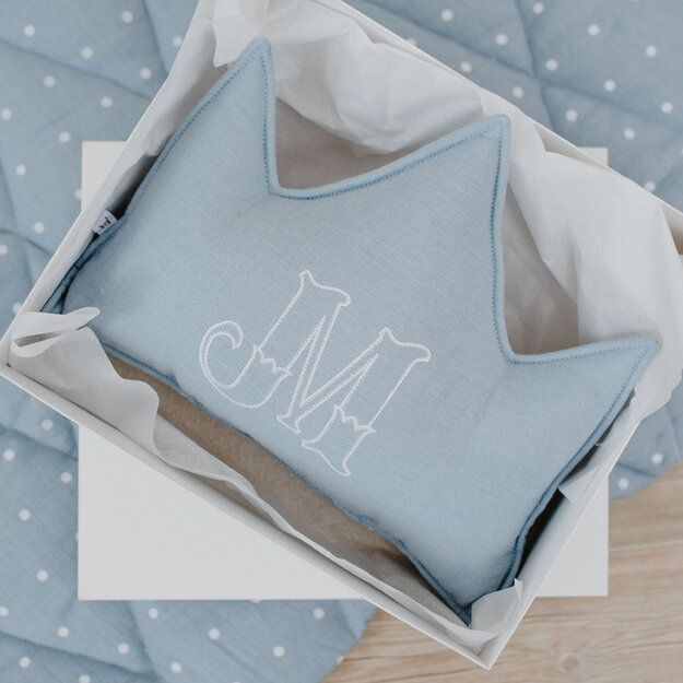 Blue linen (flax) personalized crown pillow