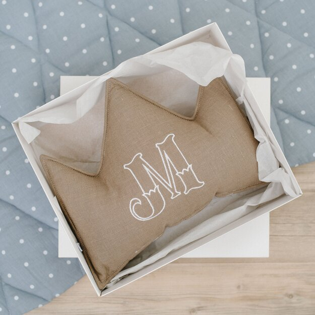Brown linen (flax) personalized crown pillow