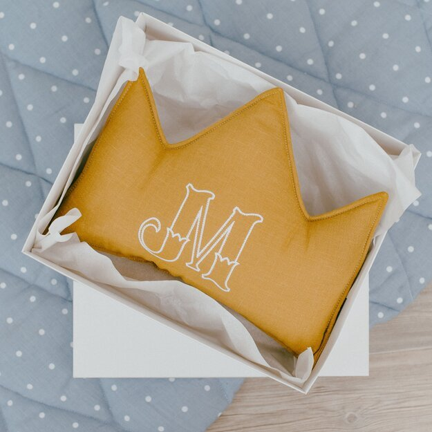 Mustard linen (flax) personalized crown pillow