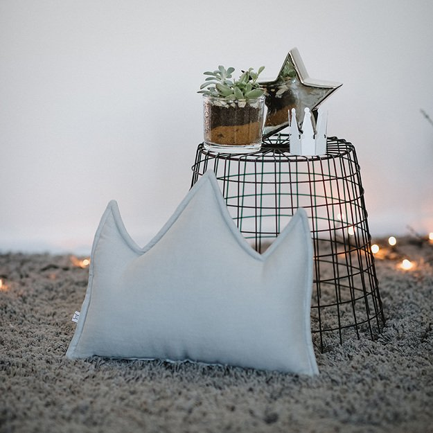 Grey linen (flax) crown pillow with thread