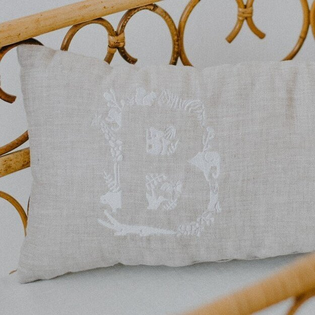 Natural Linen Personalised Pillow with Animal Embroidery