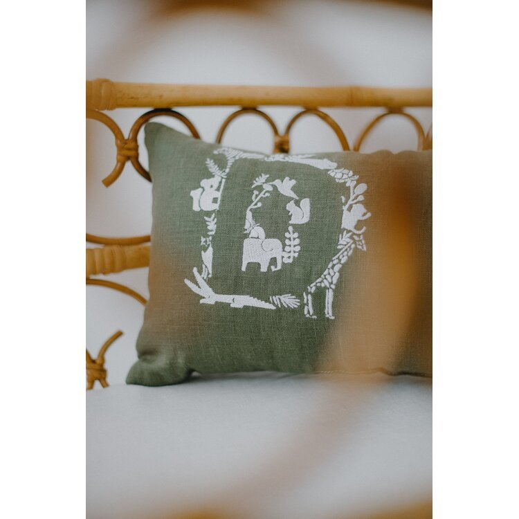 Dark Green Personalised Pillow with Animal Embroidery