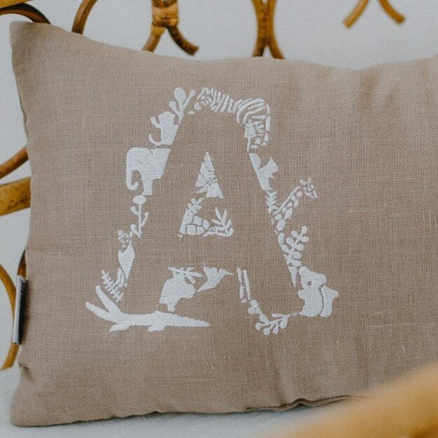 Brown Personalised Pillow with Animal Embroidery