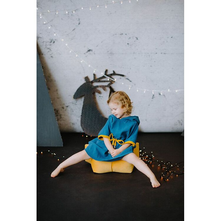 Navy Toddler Poncho with Tassel