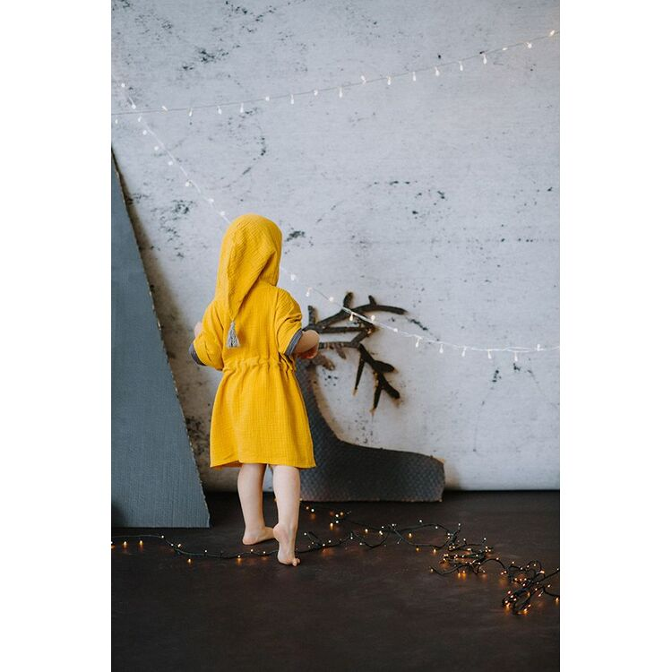 Mustard Toddler Poncho with Tassel