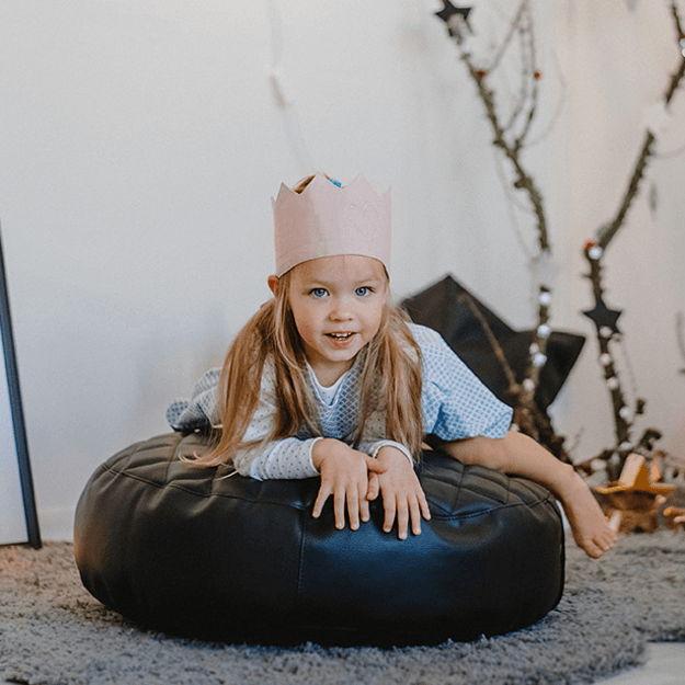 Stupendous Black Leather Round Bean Bag Chair Baby And Toddler Nursery Accesories Bedding Play Gyms Bathrobes Uwap Interior Chair Design Uwaporg