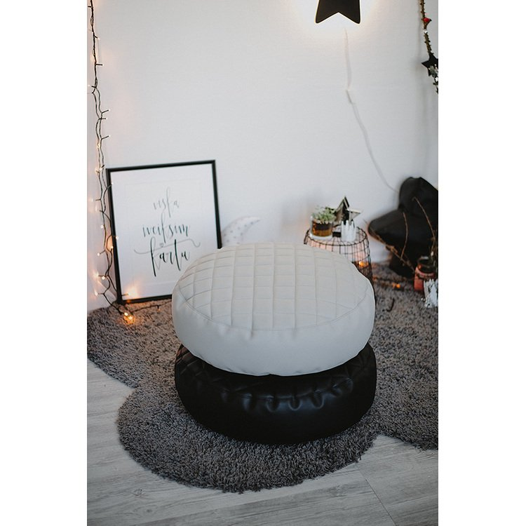 Grey leather round bean bag chair