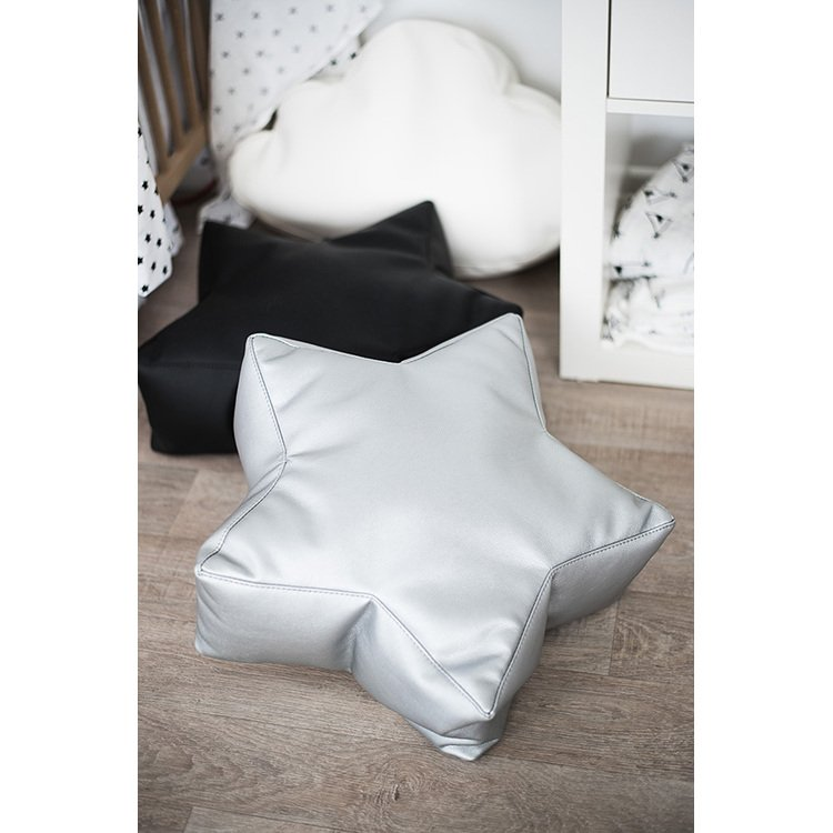 Grey Leather STAR Bean Bag Chair