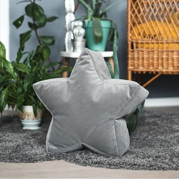 Grey Velvet Star Bean Bag Chair