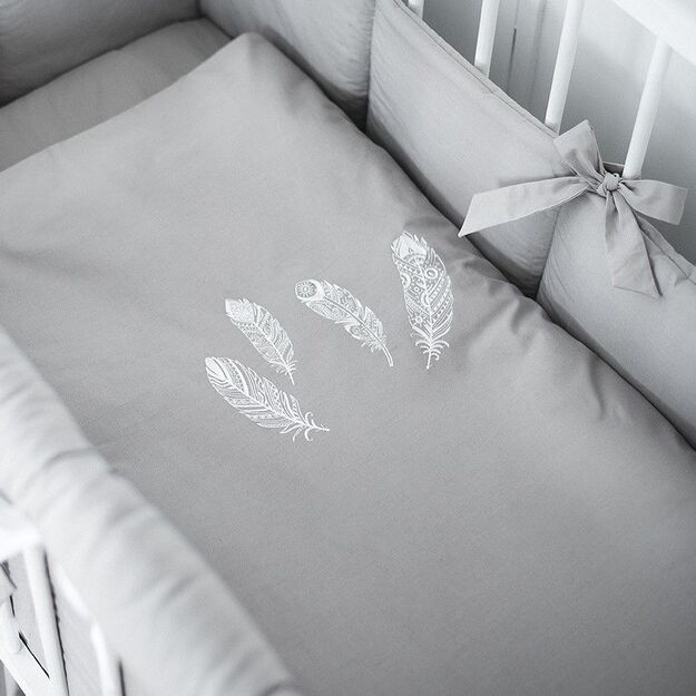 """Gray Baby Bedding """"Feather"""""""