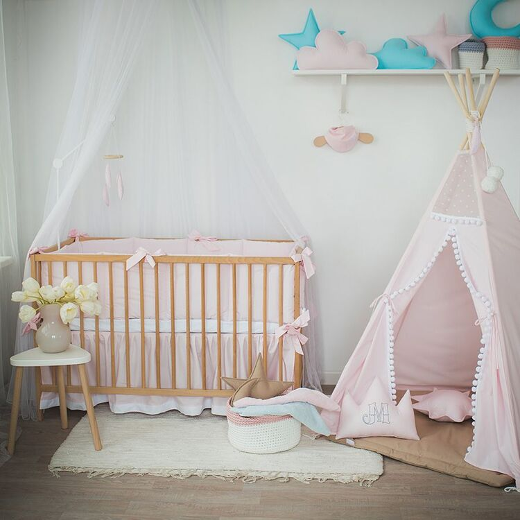 """Pink Baby Girl Bedding """"Feather"""""""