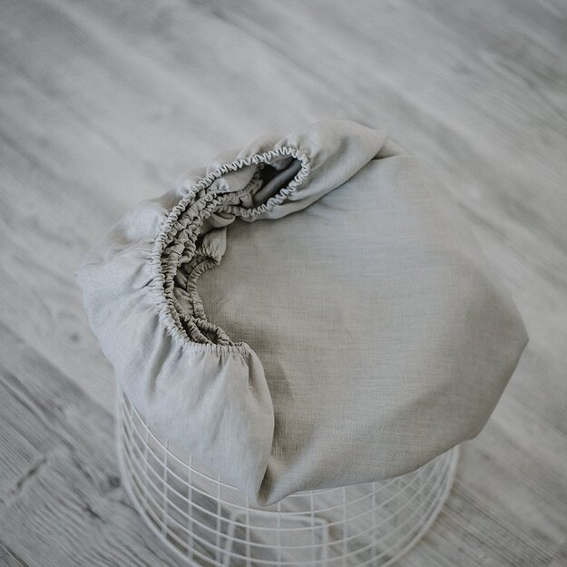 Grey plain linen (flax) crib sheet