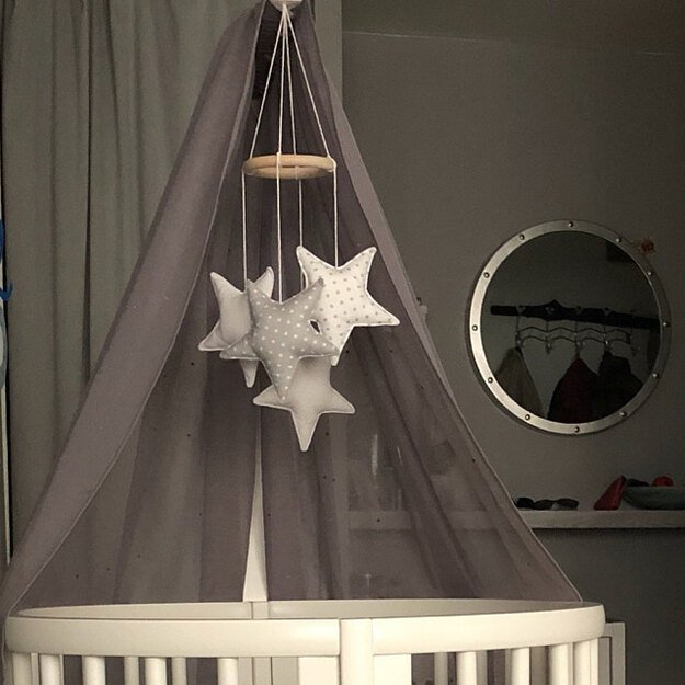 Grey White Cotton Crib Mobile Baby And Toddler Nursery Accesories Bedding Play Gyms Bathrobes