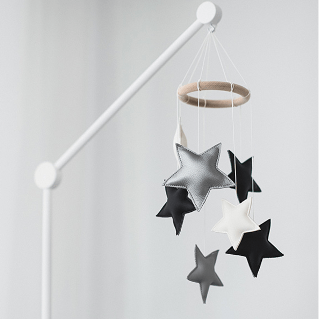 Black And White Small Star Nursery Mobile Baby Toddler Accesories Bedding Play Gyms Bathrobes