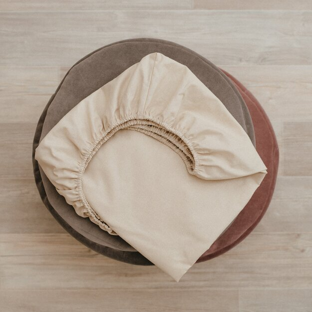 Beige fitted cot sheets for baby crib