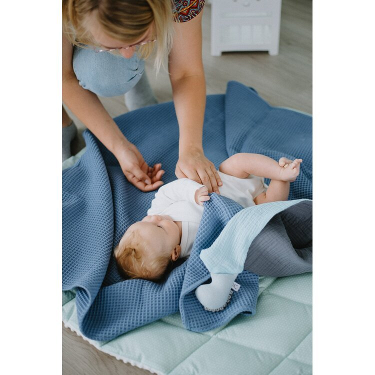 Navy Blue Cotton Baby Swaddle Blanket